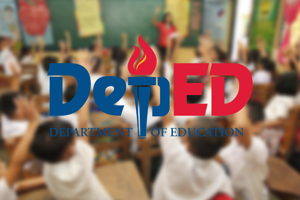 DepEd logo with students as background