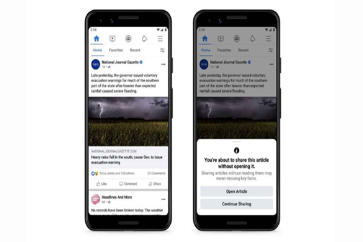 SECOND THOUGHT PROMPT. Facebook's newest prompt encourages users to read articles before sharing them. Photo Courtesy by Tech Radar.